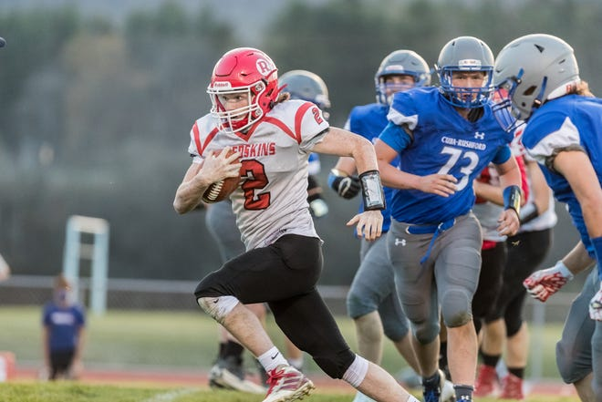 Canisteo-Greenwood's Chase Weeks rushes down the field with the ball during Thursday's win at Cuba-Rushford.