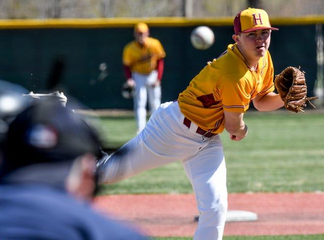 Hays High School's Garrett Wellbrock makes a pitch to a Garden City batter Friday in the first game of a doubleheader at Clint Lightner Field in Garden City.