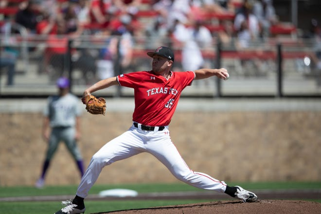 Texas Tech's Patrick Monteverde attempts to throw a pitch during a Big 12 Conference game Saturday, April 10, 2021, against TCU at Dan Law Field at Rip Griffin Park.