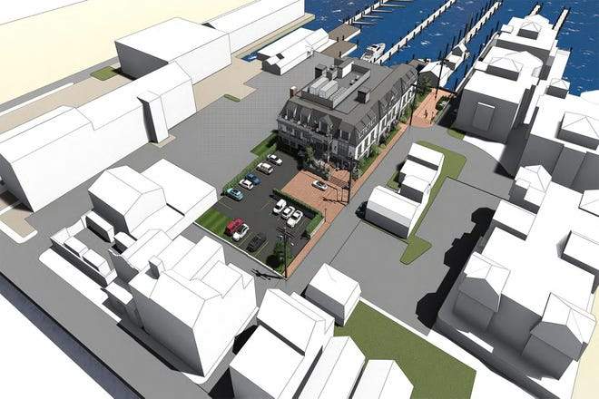 This rendering shows the new 21-room Manchester Hotel planned for Lee's Wharf in Newport.