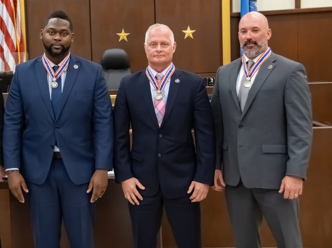 Jermaine Vaughn, Travis Sutterfield and Callen Stephens have been awarded the Congressional Badge of Bravery for their actions as deputy U.S. marshals during a shootout in 2018. Also honored, but not in photo, was Postal Inspector Brian Hess.