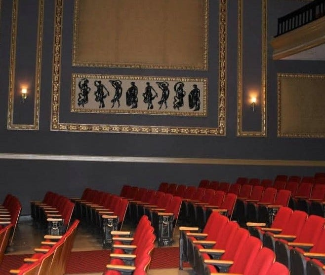 Orchestra seating at the historic Beacon Theatre in Hopewell, Va.
