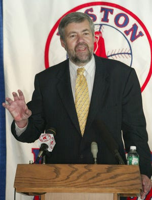 Bill James speaks during a press conference in 2002 at Fenway Park in Boston.