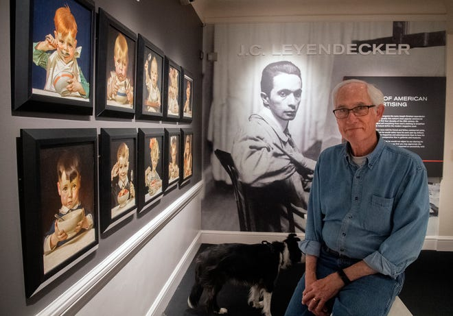 """Haggin Museum CEO and Curator Tod Ruhstaller sits among the famed J.C. Leyendecker collection. Leyendecker is """"probably the most popular and successful commercial artist in the United States during the first three and a half decades of the 20th century,"""" Ruhstaller says."""