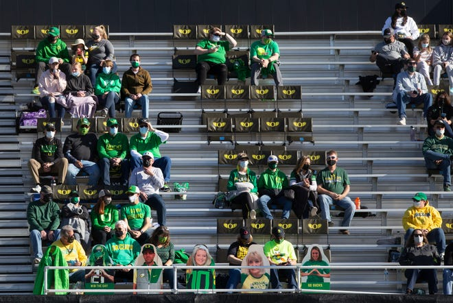Fans are allowed into Jane Sanders Stadium for the first game of the Oregon UCLA  series Friday night.