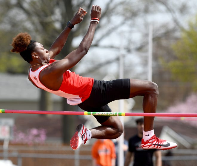 McKinley high jumper Latrell Hudson-Snow jumps to a runner-up finish at this year's Dave Clegg Invitational.