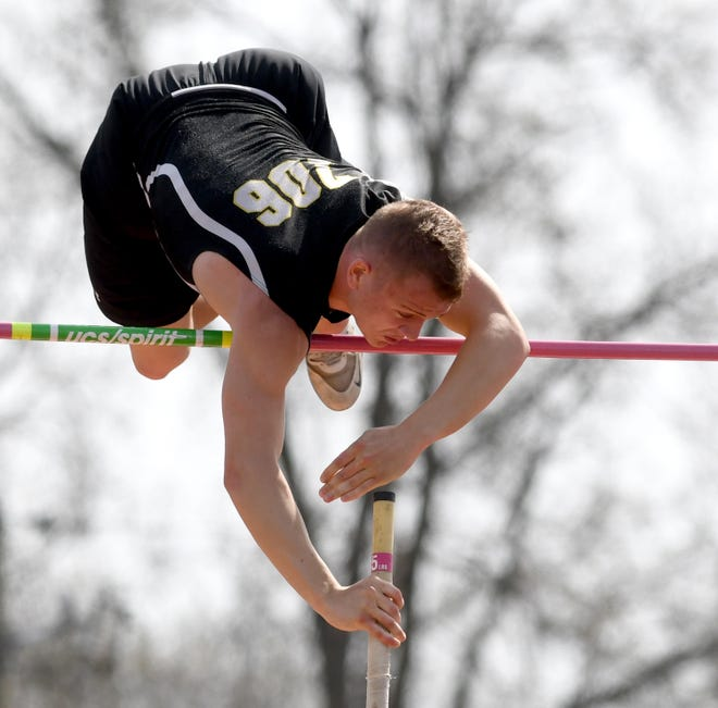 Perry pole vaulter Max Stokey jumps to a win at this year's Dave Clegg Invitational.