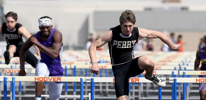 Perry's Luke Laubacher owns four Stark County boys top times, including both hurdles events.