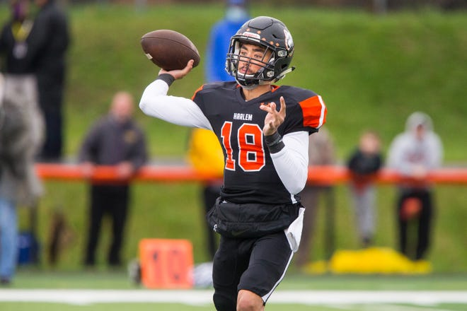 Harlem quarterback James Cooper Jr., shown throwing against Hononegah on April 10, has led the NIC-10 in passing for three straight seasons.