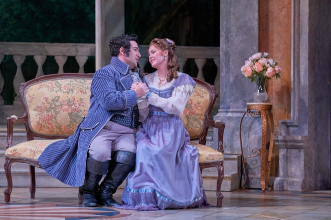 "Christopher Bozeka as Florville and Hanna Brammer as Sofia in the Sarasota Opera production of Rossini's ""Il signor Bruschino."""