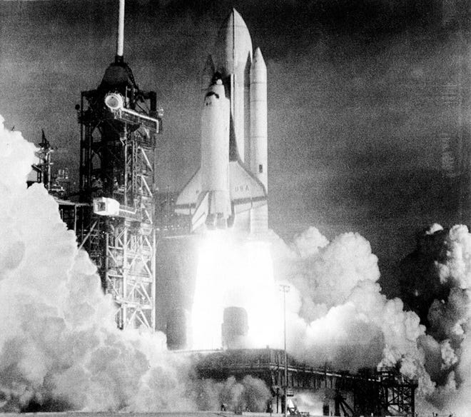 The Space Shuttle Columbia liftoff the launch pad at Cape Canaveral, making the first flight of this reusable spacecraft, at Kennedy Space Center, Florida April 12, 1981.