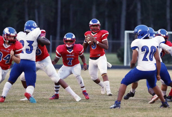 The West Craven Eagles host Greene Central Rams conference football at West Craven High School in Vanceboro, NC, April 9, 2021. West Craven Eagles win 29-6. [Gray Whitley / Sun Journal Staff]