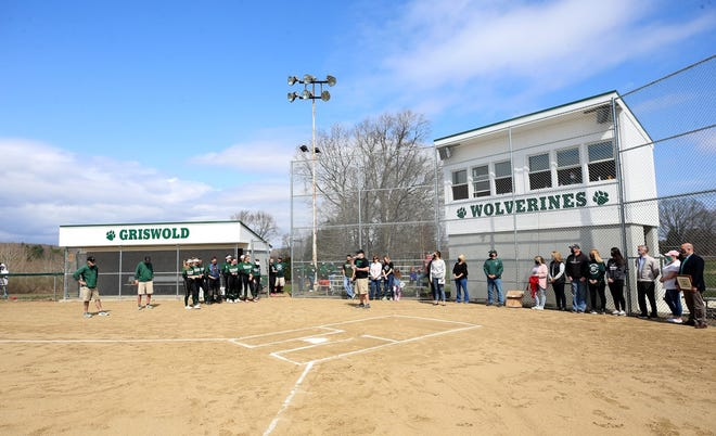 Griswold officials had a ribbon-cutting ceremony at the high school's new softball field on Saturday.
