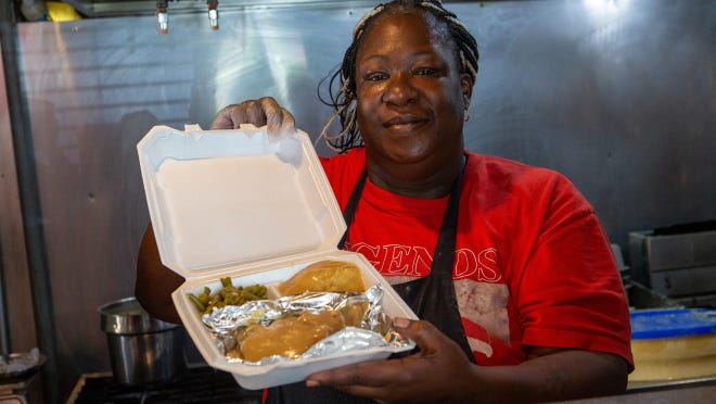 "Shavonn ""Nanny"" Smith last year showed off a pork chop smothered in gravy she cooked at her restaurant, Nanny's Soulfood. It was accompanied by mashed potatoes, green beans and bread."