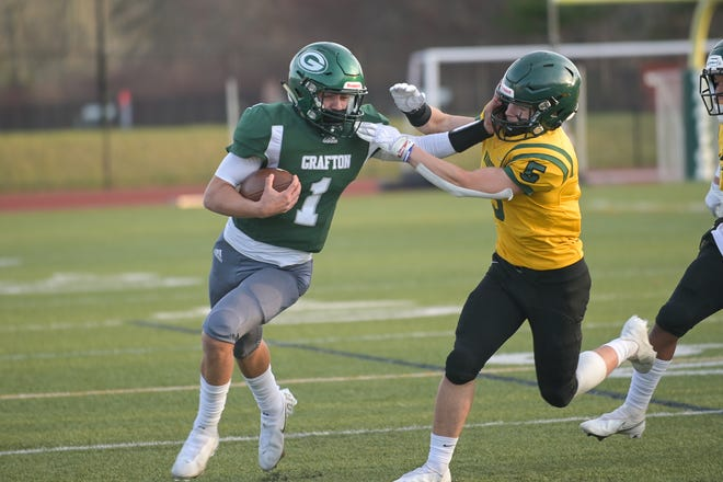 """""""We got to play, and we made the most of it and came out with a winning record, """" said Grafton's Tyler Dimond, at left."""