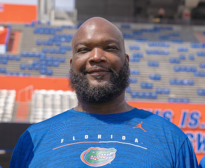 Former Florida defensive tackle Reggie McGrew, now a strength and conditioning coordinator at his alma mater.