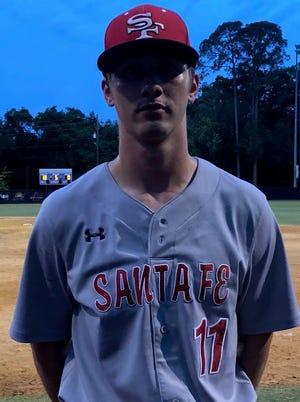 Santa Fe junior catcher Landon Rogers had himself a game against GHS on Friday.