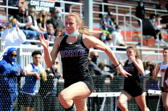 North Kitsap's Alyssa Cullen, pictured here during a meet at Central Kitsap High School, posted the top time in the state in the 100-meter dash at the Olympic League track and field championships at Bremerton High School. The meet began Thursday and concluded Saturday.