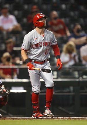 Reds outfielder Tyler Naquin has five home runs this season. He had four homers last season in 40 games with Cleveland.
