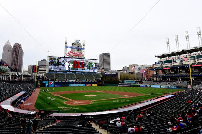 A general view Progressive Field prior to a game between Cleveland and Detroit Tigers on April 10, 2021 in Cleveland, Ohio.