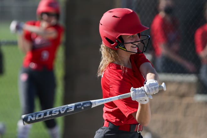 West Lafayette's Dani Rawles (8) swings during the second inning of an IHSAA softball game, Friday, April 9, 2021 in West Lafayette.
