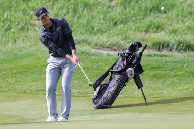 Purdue's Joe Weiler chips on the sixth hole during the first round of the Boilermaker Invitational, Saturday, April 10, 2021 at Purdue University's Birck Boilermaker Golf Complex in West Lafayette.