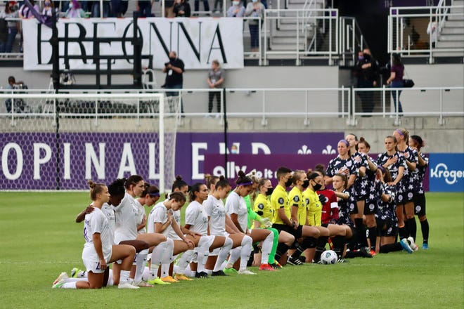Prior to the Racing Louisville FC first-ever game, against Orlando Pride SC, several Racing players knelt during the national anthem, while others stood. Players in several sports have knelt to call attention to racial inequality and systemic racism throughout the country and world.