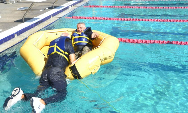 It is not that easy to climb into the raft (the two members are fully vaccinated).