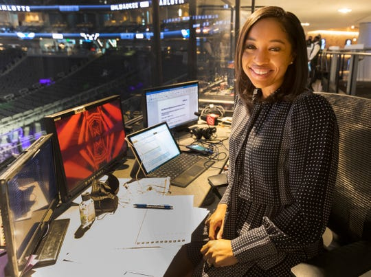Zora Stephenson is shown before the Milwaukee Bucks game against the Charlotte Hornets Friday, April 9, 2021 at Fiserv Forum. She is the first woman to do the play-by-play announcing of a Bucks broadcast.