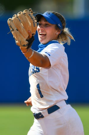 Middle Tennessee State's Summer Burgess celebrates making an out during an NCAA college softball game against Marshall on Friday, April 9, 2021, in Murfreesboro, Tenn. (AP Photo/John Amis)