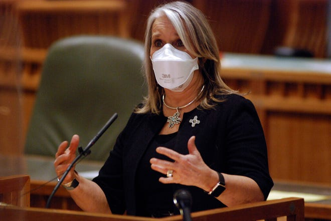New Mexico Gov. Michelle Lujan Grisham hails the accomplishments of the Legislature and calls for a special legislative in session in the coming weeks to approval recreational cannabis legalization in Santa Fe, N.M., at the close of a 60-day legislative session on Saturday, March 20, 2021. The Democrat-led Legislature charted an economic exit from the COVID-19 pandemic and checked off progressive priorities on policing reforms, abortion rights, medical aid in dying and child poverty.