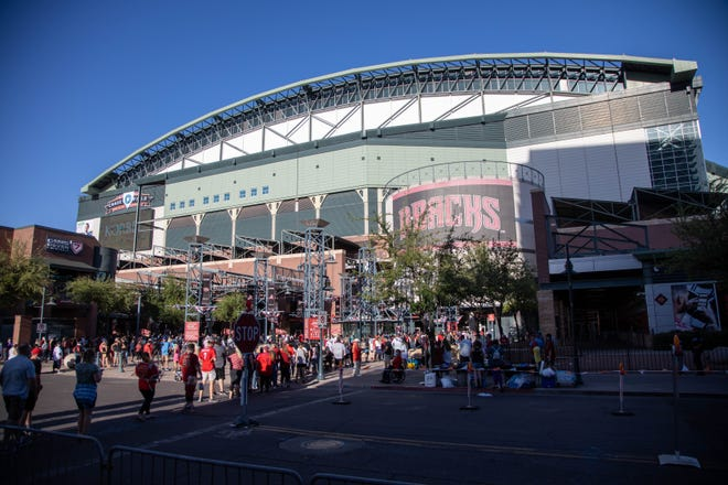The line for opening day at Chase Field, April 9, 2021, Phoenix, AZ