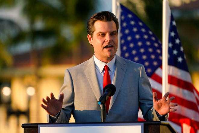 "Congressman Matt Gaetz, R-Fla., speaks at a ""Women for American First"" event  Friday, April 9, 2021, in Doral, Fla. (AP Photo/Marta Lavandier)"