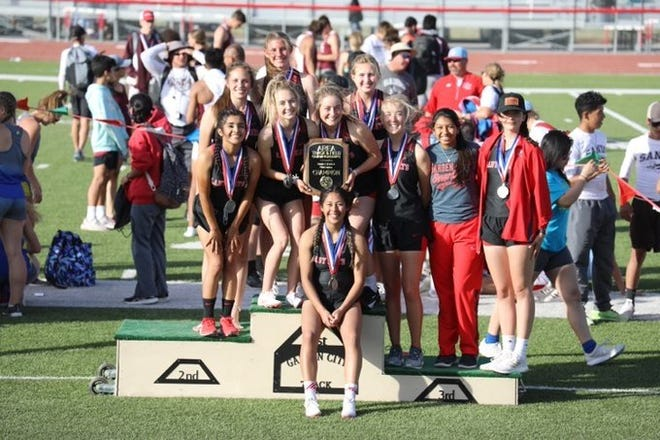 The Garden City High School girls track and field team won the Area 7/8-1A team championship Friday, April 9, 2021, in Garden City