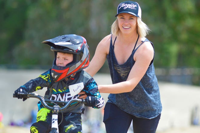 Visalia's Brooke Crain, a two-time Olympian, hosted a BMX clinic on April 10, 2021 in Bakersfield to raise awareness on suicide prevention.