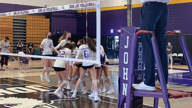 John Jay celebrates as the Wolves defeat visiting Yorktown 3-1 Saturday in a battle of undefeated teams