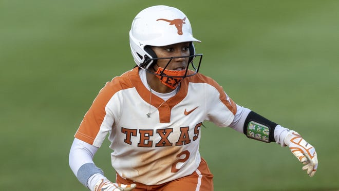 Texas' Janae Jefferson watches the Texas Tech pitcher during a game in early April. Jefferson doubled and drove home a run in the series finale win over Iowa State on Saturday.
