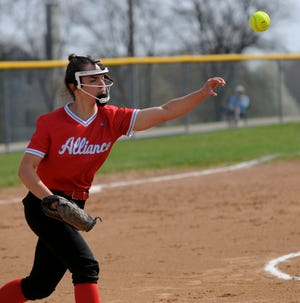 Alliance's Emma Reese throws to first base after fielding a bunt in a non-conference game against Akron Springfield Saturday, April 10, 2021 at Union Title Field.
