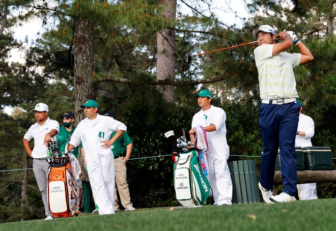 Hideki Matsuyama tees off on no. 18 during Sunday's final round for the Masters at Augusta National Golf Club, Sunday, April 11, 2021, in Augusta, Georgia.