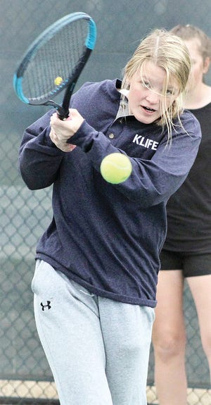 Jordan Bilger is a veteran No. 1 doubles player for Bartlesville High School's tennis team.