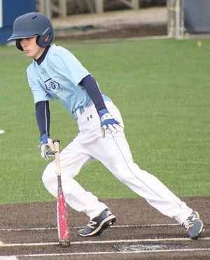Luke Fox takes off toward first base during Bartlesville High baseball action earlier this season.
