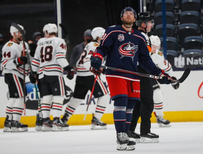 Blue Jackets left wing Stefan Matteau watches the replay of a Chicago goal during the first period Saturday.