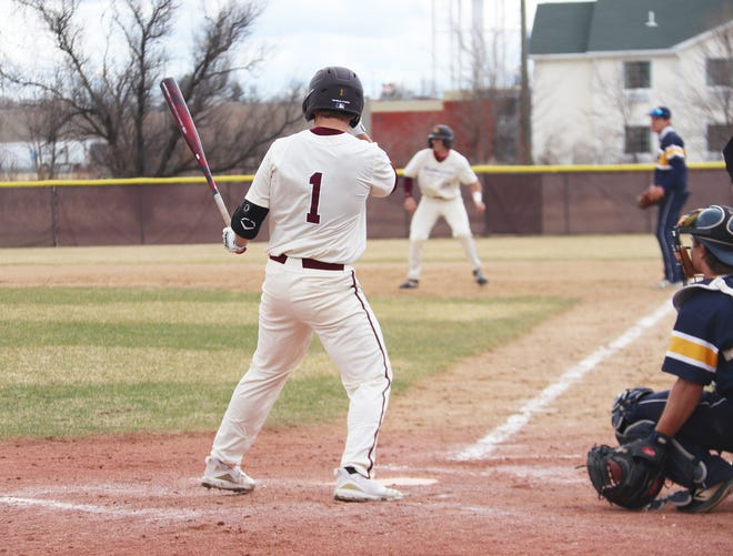 Landyn Swenson digs in against Concordia-St. Paul on April 11. Swenson and the UMC baseball team was swept by St. Cloud State this weekend.