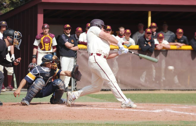 Brock Reller during a game against Concordia-St. Paul on April 11. Reller hit the go-ahead two-run double in UMC's 10-6 win over Minot State in the NSIC Tournament on Thursday.