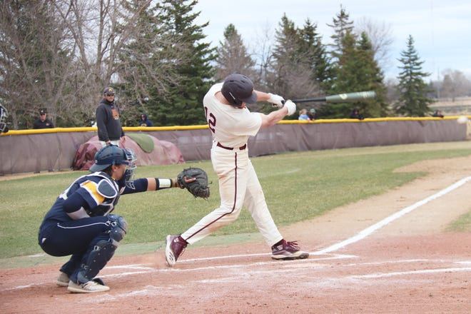 Jake Hjelle in a game against Concordia-St. Paul on April 11. Hjelle returned to the UMC lineup and helped the Golden Eagles to a NSIC Tournament sweep over Minot State last week.