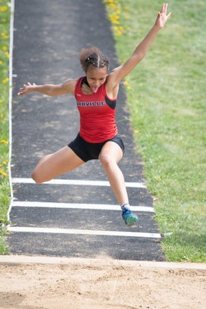 Orrville's Daysia Hargrave is the area leader in three different events: the 100 hurdles, 300 hurdles and long jump.