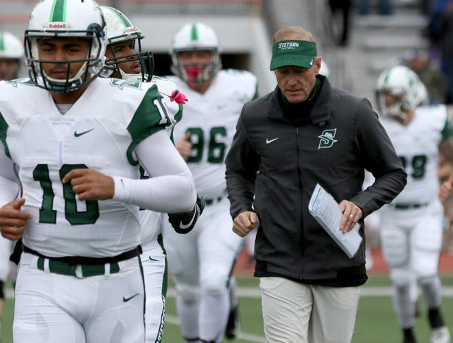 Head coach Roger Hughes and his Stetson Hatters close the 2021 spring season next Saturday at Davidson.