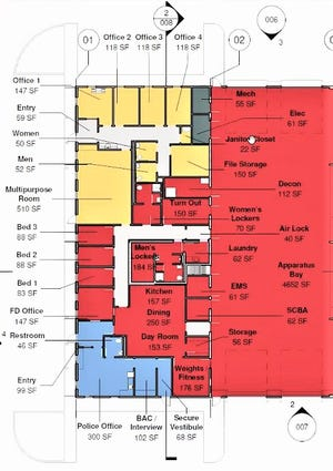 This illustration shows the proposed layout of the township's safety/administrative center. The red areas are primarily for fire department use, the yellow areas for administrative offices and the blue area for a county sheriff's outpost.