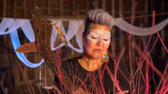 """An image from """"Ego of a Nation,"""" a 4-minute poem in video incorporating poetry, music and performance. It was directed and produced by Janet Rogers (Mohawk)."""