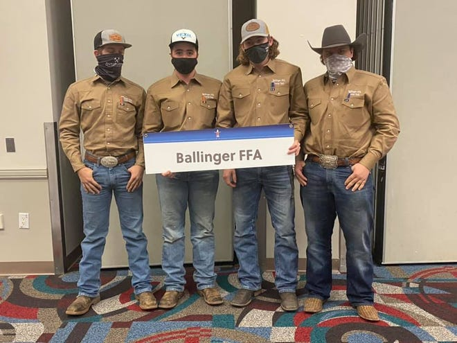 The Ballinger FFA Tractor Technician Team competed at the meet in state, finishing in the top half of the 37 teams that competed.  Left to Right: Trace Lange, Colton Belk, Tyler Langston, Cash Drennan